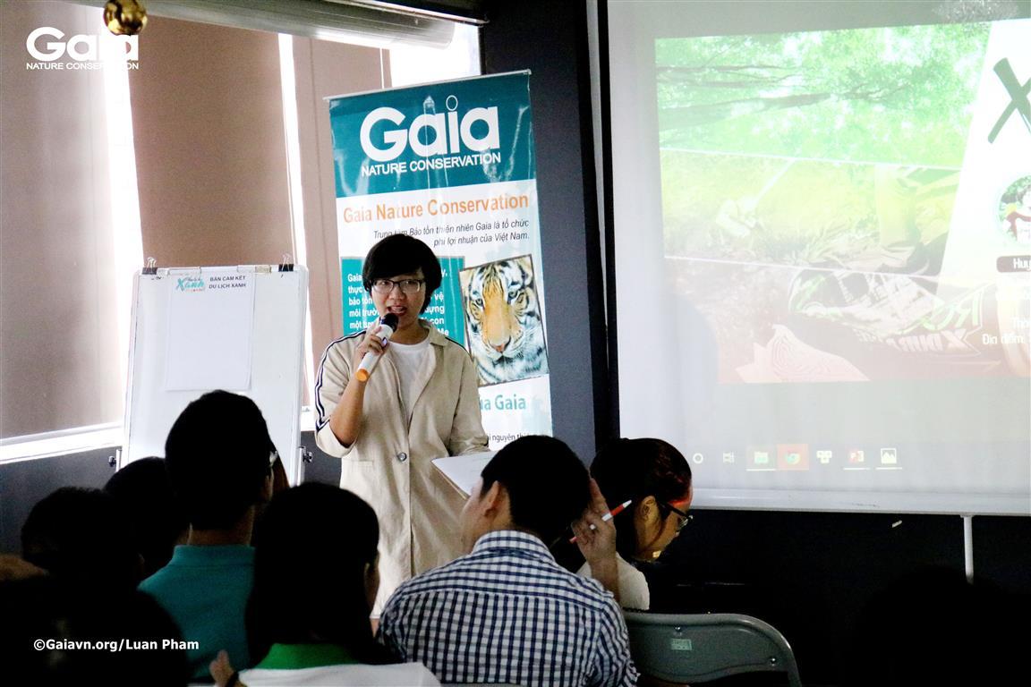 Phạm Nguyễn Thanh Trúc – Trại sinh Trại Sinh thái, Trưởng nhóm tổ chức toạ đàm nhằm lan toả thông điệp Du lịch Xanh, sau khi tham gia Trại Sinh thái.