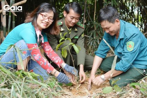 Bà Đỗ Thị Thanh Huyền- Nhà Sáng lập- Giám đốc Trung tâm Bảo tồn Thiên nhiên gia trồng cây khôi phục rừng đầu nguồn tại Vườn Quốc Gia Bến En cùng người dân địa phương và cán bộ Vườn Quốc gia