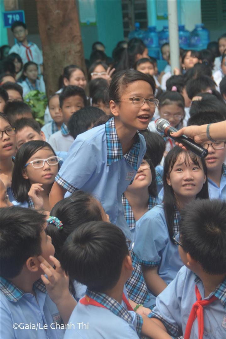 Học sinh hào hứng trả lời câu hỏi về động vật hoang dã