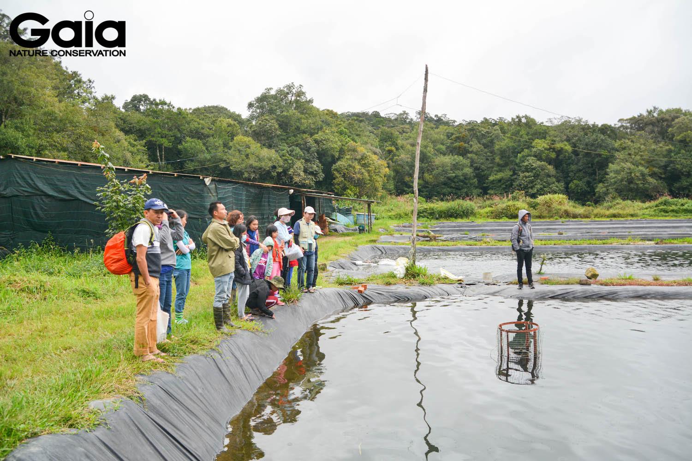 Tham quan trại cá tằm của người dân địa phương