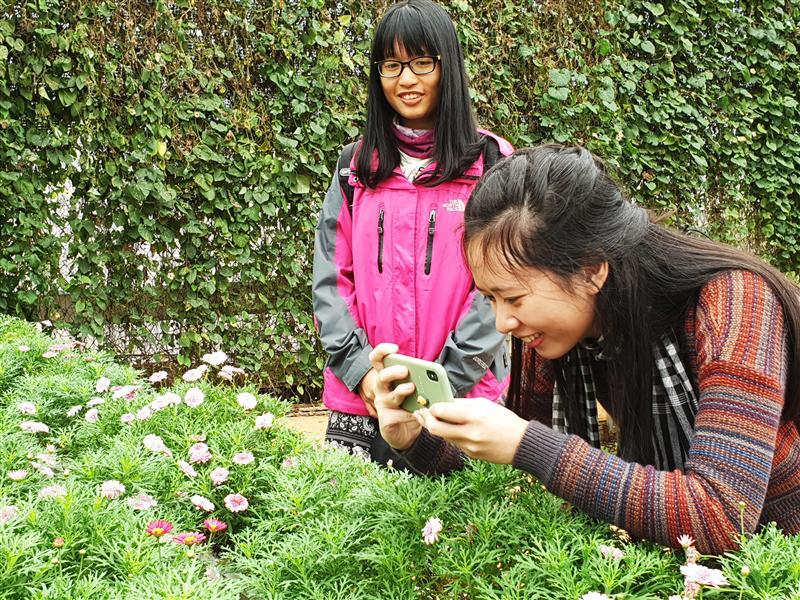 Vui thích tham quan làng hoa Vạn Thành.