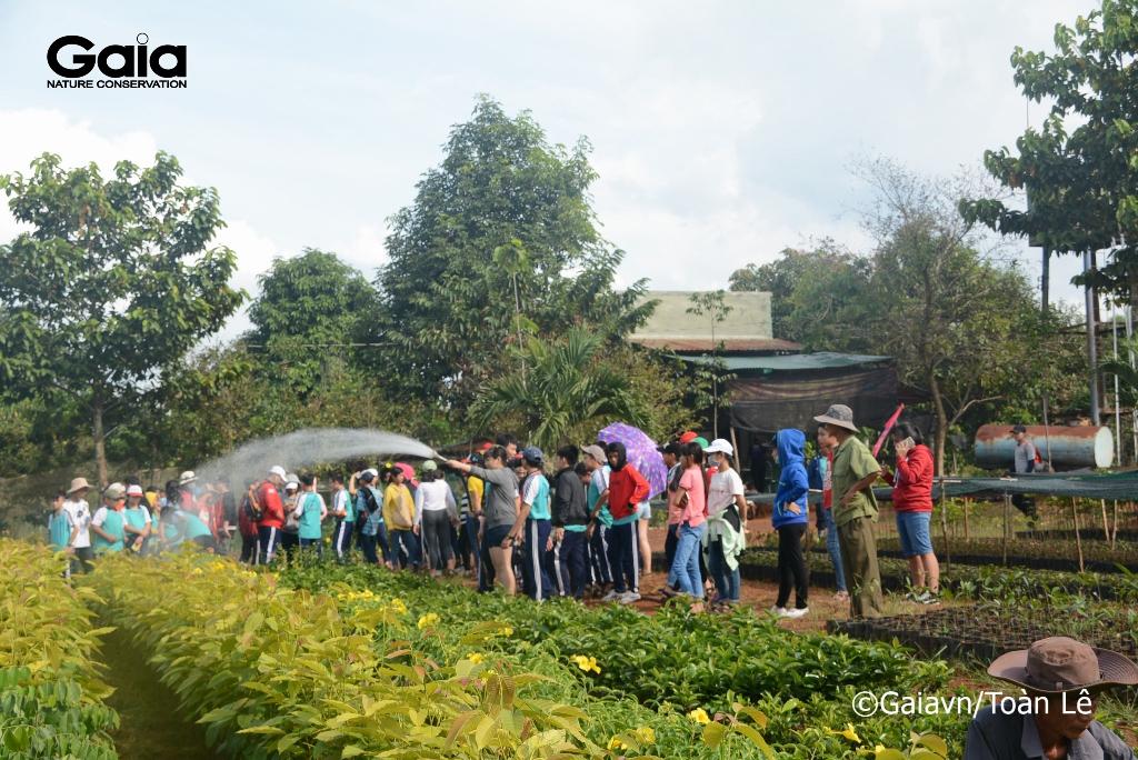 Học sinh tưới cây tại Vườn ươm