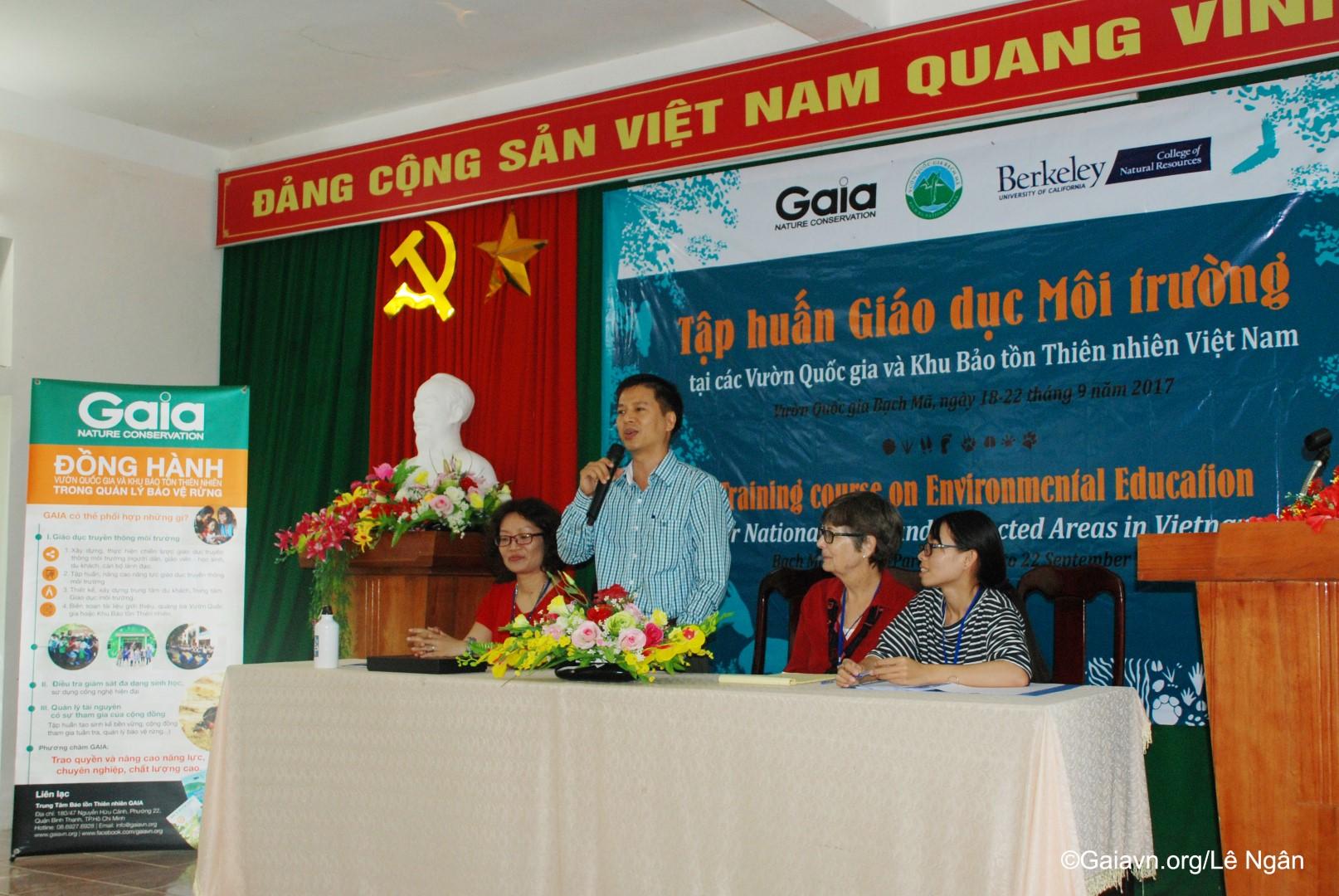 ng Nguyễn Vũ Linh – Phó Giám đốc Vườn quốc gia Bạch Mã, phát biểu khai mạc Tập huấn