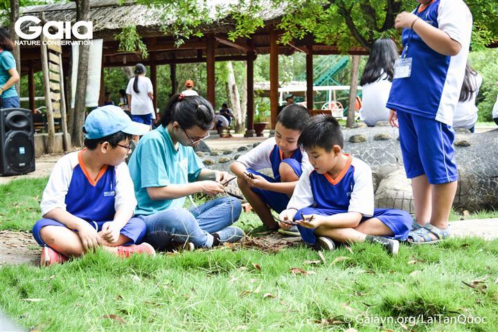 Các em học sinh trường Wellspring cùng làm thuyền quả đước với sự hướng dẫn của các anh chị tình nguyện viên Gaia.
